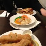 fish and chips and vegetable plate & schnitzel