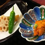 Urchin roe and lotus root
