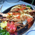 Lobster specially ordered and cooked by Dimitris