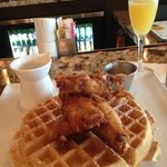 chicken and waffles with memosa - ok but pricey