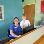 Our Grandson enjoyed getting to know Katy at front desk.