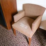 upholstered side chair badly stained