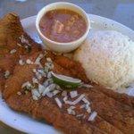 Breaded steak w/ Rice and Garbanzo beans