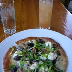 Roasted Mushroom Pizza with ricotta, figs and arugula and an Enger Tower cocktail