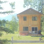 summer at Kicking Horse Kabins, with private deck and firepit