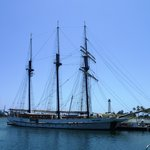 Three-masted schooner in Long Beach harbour.
