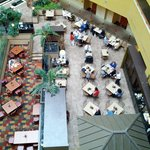 Looking down on the breakfast area / restaurant from just outside our room on the 5th floor
