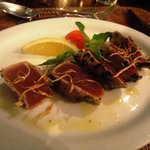 Delicious seared tuna adorned with crispy ginger
