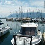 Blick von der Terrasse auf den Genfer See