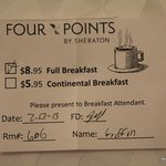 Full breakfast will cost $8.95 and its not worth it