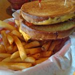 Delicious Grilled Cheese & Bacon with Seasoned Fries
