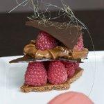 Raspberry chocolate stack with spun sugar