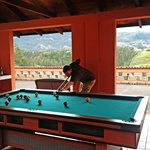 playing pool in the mountains