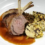 Rack of Ayrshire Lamb sauté artichokes with rosemary and aubergine relish