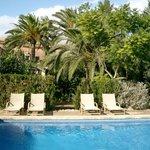 Garten und  Pool Dorfhotel