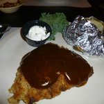 Chicken fried steak with baked potatoes