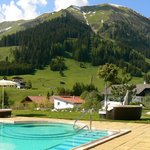 Vue des alpages depuis la piscine