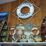 Lots of neat decorations; handmade mugs for sale.