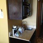 Bar, microwave and refrigerator