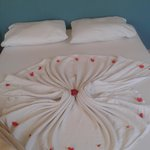 Flower petals on bed.