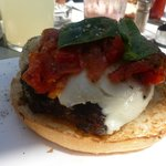 Tomato and mozzerella burger - yum!