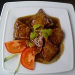 Vegetarian meat with black pepper sauce