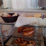 Eggs, Croissants, and bread buns at the Breakfast buffet