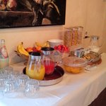 Juices, Fruits, Yogurts, and Cereal at the Breakfast Buffet