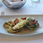 Grilled Calamari, Baby Romaine, Pancetta, Sourdough Croûtons, Crème Frâiche Vinaigrette
