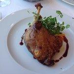 Duck Leg Confit, Chick Pea Polenta, Chevre, Blackberry & Port Reduction