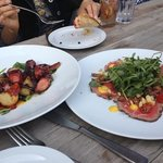 Octopus and the daily special: lightly seared beef carpaccio