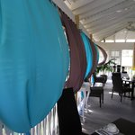 Billowing drapes in restaurant area
