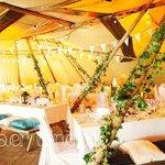 inside Tipis for wedding
