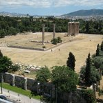 the view of temple of zeus from the roof top too