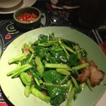 Crispy pork with Chinese broccoli.