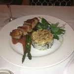 Duck breast, asparagus, and rice pilaf with hazelnuts