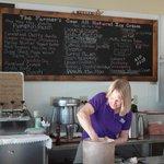 Kristin scoops out more lavender (ice cream)