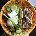 Greek Salad with Gyro Meat & Potato Salad