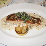 Grilled Salmon with a zesty caper sauce....I gave up beef so I couldn't enjoy the steak
