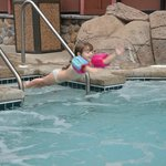 jumping to the pool