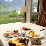 breakfast with a view of rainbow and fjord