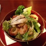 Garlic king prawns and caeser salad.....hot