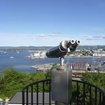 Free panoramic view binoculars up the hill to the Ekeberg Restaurant. Great view from here! and