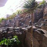 la parete di roccia dentro l'hotel