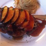 Pork chop with peach toppping
