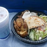 Gyro plate with salad, Grecian potatoes and pita wedges - my favorite!
