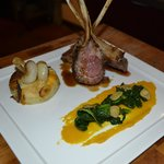 Rack Of Lamd Chipolte Gratinee, Butternut squash puree, Rabe broccoli