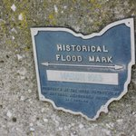 The Historical flood marker just outside the Santa Maria!