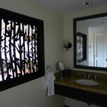stylish screen separating sink from room