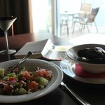 Greek salad and steamed mussels